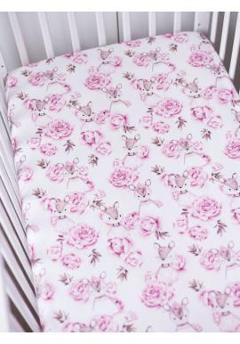 Bavlnené prestieradlo na posteľ s gumkou s motívom srniek a kvetov