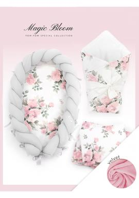 Novorodenecká výbava Velvet 4v1 - pivónie/ svetlosivá