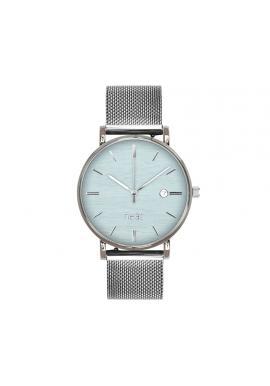 Strieborno-modré módne hodinky s kovovým remienkom pre dámy