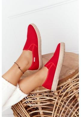 Trendy dámske espadrilky v červenej farbe