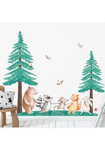 Sada nálepiek do detskej izby s motívom dvoch ihličnatých stromov