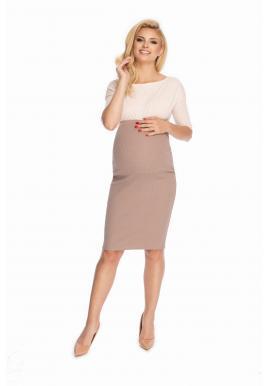 Klasická elegantná tehotenská sukňa v cappuccinovej farbe