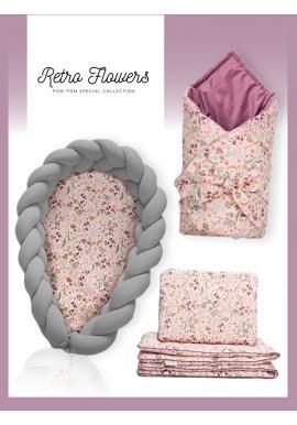 Výbava pre novorodenca 4v1 - Retro kvety/ tmavosivá