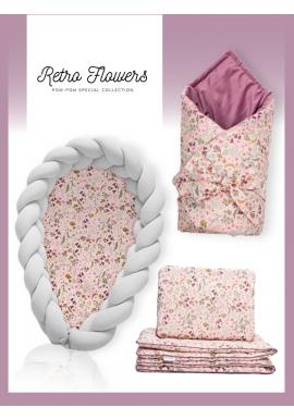 Výbava pre novorodenca 4v1 - Retro kvety/svetlosivá