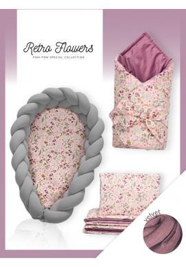 Novorodenecká výbava Velvet 4v1 - Retro kvety / tmavosivá