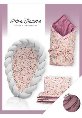 Novorodenecká výbava Velvet 4v1 - Retro kvety / svetlosivá