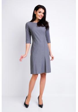 Šaty pre dámy v sivej farbe s 3/4 rukávom