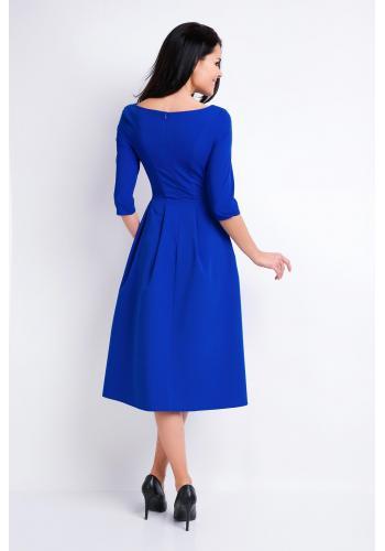 Šaty s rozšírenou sukňou v modrej farbe