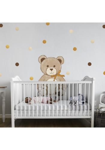 Nálepka do detskej izby v podobe medveďa s mašľou