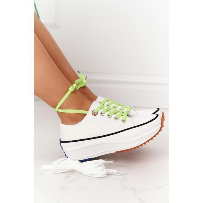 Dámske tenisky na platforme v bielej farbe