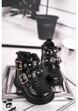 Dievčenské oteplené čižmy v čiernej farbe
