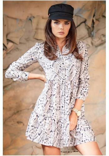 Sivé košeľové šaty s motívom hadej kože pre dámy