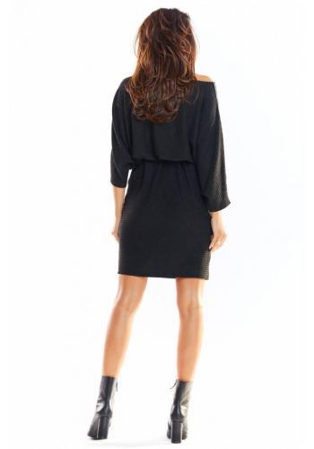 Dámske oversize šaty s dlhým rukávom v čiernej farbe