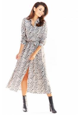 Dámske maxi šaty s motívom hadej kože v sivej farbe