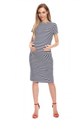 Letné tehotenské šaty s bielo modrými pruhmi