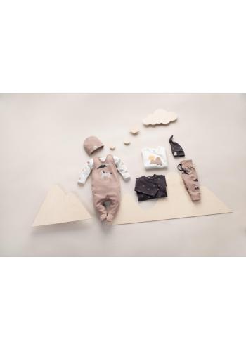 Detský bavlnený svetrík smotanovej farby s motívom hôr
