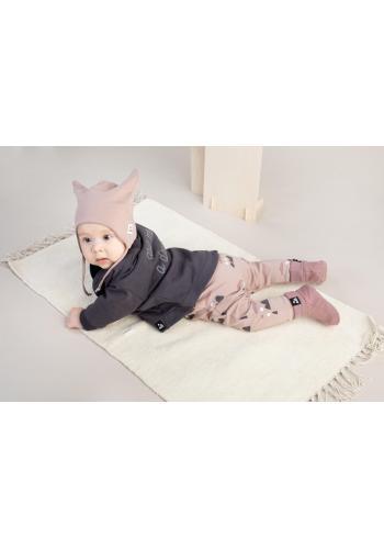 Bavlnené papučky pre bábätká v staroružovej farbe