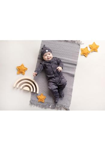 Bavlnený detský overal s malými mesiačikmi v grafitovej farbe