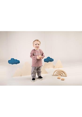 Štýlová detská mikina staroružovej farby s nápisom