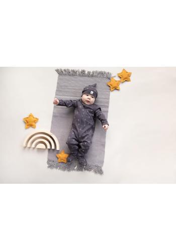 Bavlnená detská čiapka grafitovej farby s motívom mesiačikov