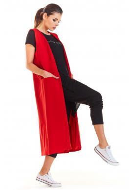 Červená dlhá vesta s vreckami pre dámy