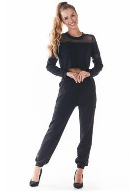 Dámske módne tepláky s čiernou sieťkou v čiernej farbe