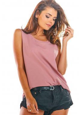 Voľné dámske tričko ružovej farby bez rukávov