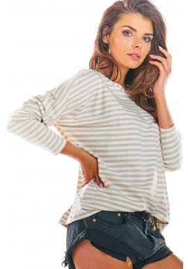 Dámske pásikavé tričko s dlhým rukávom v béžovo-bielej farbe