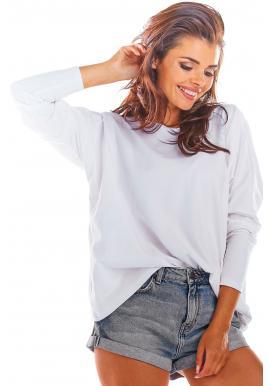 Voľné dámske tričko bielej farby s dlhým rukávom