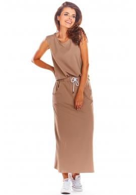Dámske dlhé sukne na leto v béžovej farbe