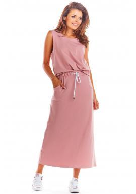 Dlhá dámska sukňa ružovej farby na leto