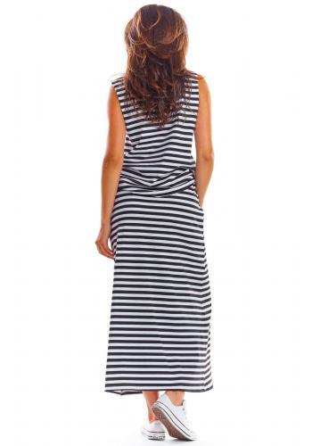 Čierno-biela dlhá sukňa na leto pre dámy