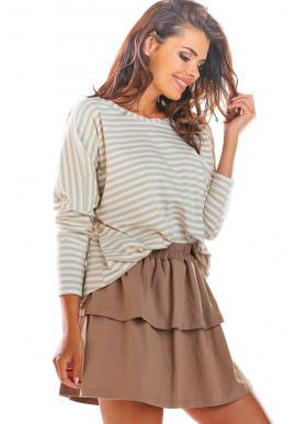 Krátka dámska sukňa béžovej farby s volánmi