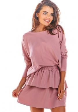 Dámska krátka sukňa s volánmi v ružovej farbe
