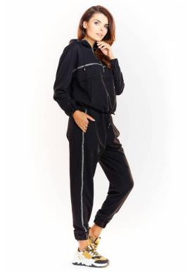 Čierna módna súprava s trblietavým pásom pre dámy