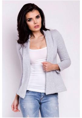 Dámske sako s dlhým rukávom v sivej farbe