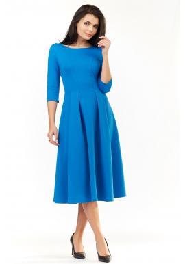 Modré elegantné šaty pod kolená pre dámy