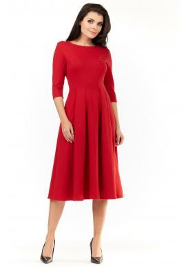 Dámske elegantné šaty pod kolená v červenej farbe