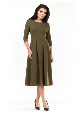 Elegantné dámske šaty kaki farby pod kolená