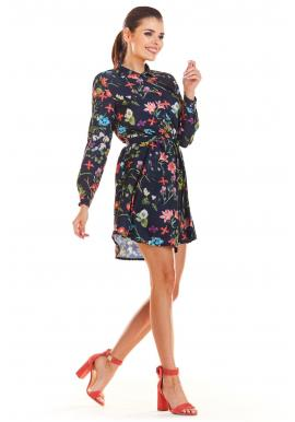 Košeľové dámske šaty tmavomodrej farby s kvetovanou potlačou