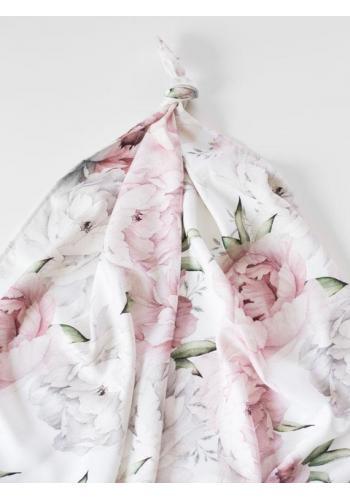 Letná bambusová deka pre bábätka - Pivónie (vankúš grátis)