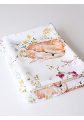 Letná bambusová deka pre bábätka - Spiaca srnka (vankúš grátis)