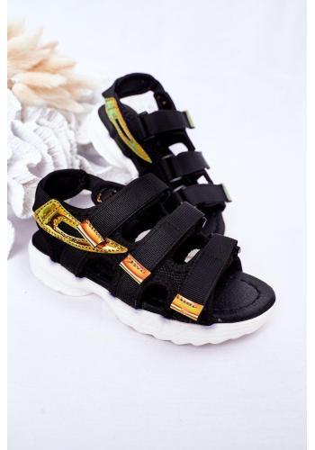 Štýlové detské športové sandále so suchým zipsom v čiernej farbe