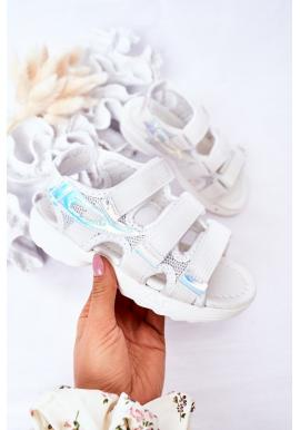 Trendy detské športové sandále so suchým zipsom v bielej farbe
