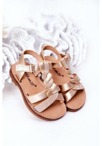 Módne detské sandálky v zlatej farbe