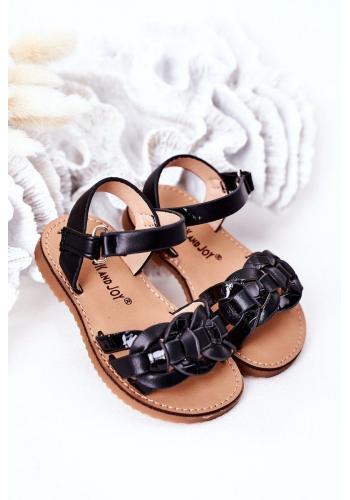 Štýlové detské sandálky v čiernej farbe