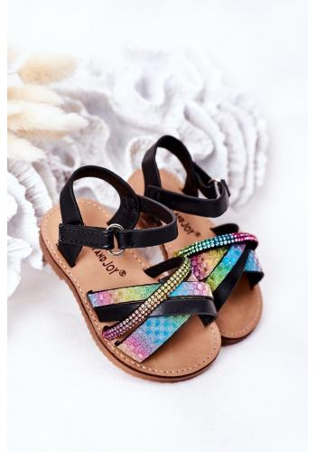 Detské sandále s flitrami Black Becky