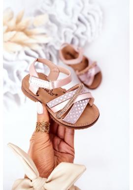 Trendy detské sandále s flitrami Black Becky v ružovej farbe