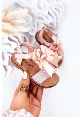 Módne detské sandále s mašličkou v ružovej farbe
