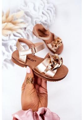 Detské sandále s retiazkou v zlatej farbe